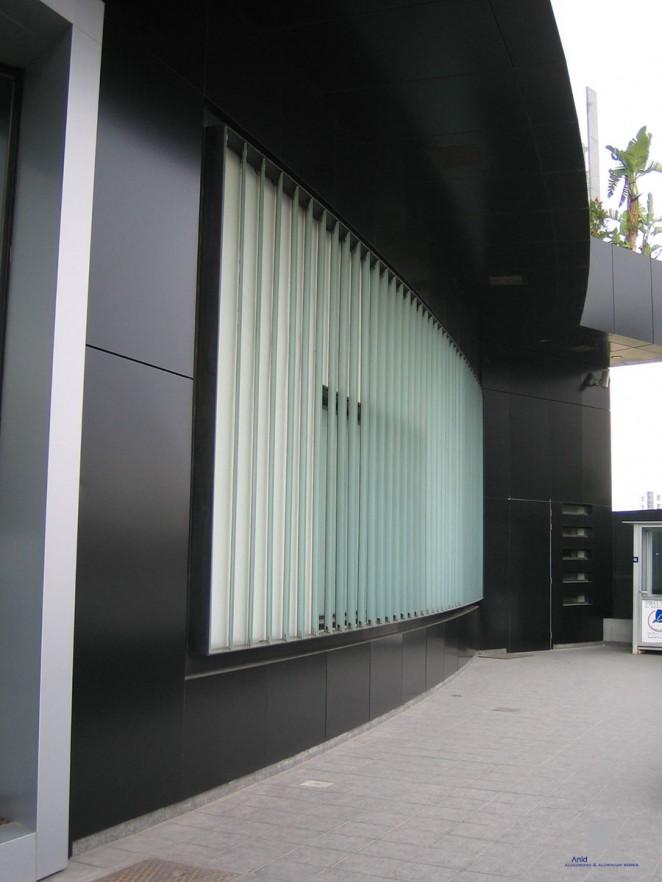 BLC BANK BUILDING ALUMINIUM FACADE BALCONY GLASS ALUCOBOND